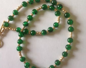Emerald green necklace handmade necklace beaded necklace green necklace