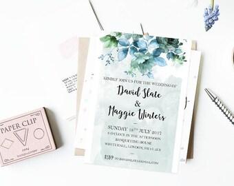 Custom Invitations - Watercolour Flowers - Elegant Invitations - Printable Invitations (Blue)