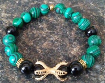 Men Malachite Claw Pave Gemstone Stretch Bracelet - 10mm - Limited Edition - Reconstituted