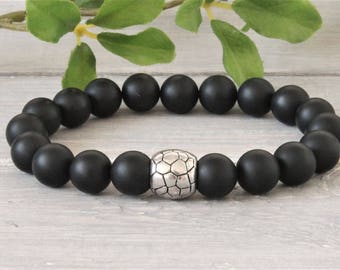 Half Gemstone Men's bracelet with metal bead, stretch, Stapelamband
