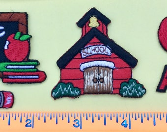 Little Red School House, ABC & 3 Other Iron-on Appliqué Patches