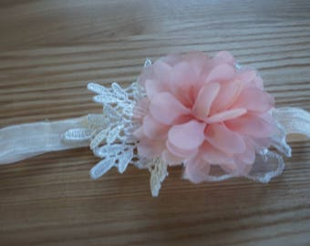 Baby Girl Peachy Pink Flower Lace Headband