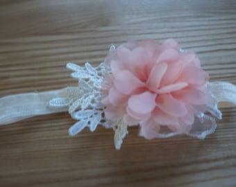 Baby Girl Peachy Pink Flower Lace Headband
