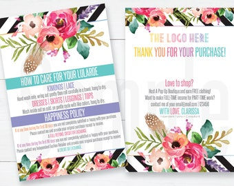 Happiness Policy | Customer Thank you card with care instructions | LuLaRoe Return Policy| 4x6 Boho Flowers