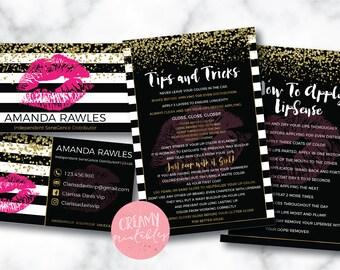 Lipsense business card bundle, tips and tricks, application instructions, loyalty, thank you, marketing branding kit, Stripe Confetti