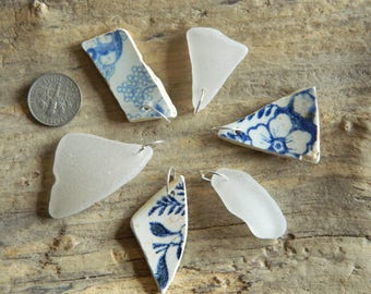 6 Drilled sea pottery shard and sea glass pieces for jewellery crafts with 10 mm jump rings