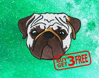 Pug Dog Applique IRON ON PATCH funny patches Badge pug patch dog patch