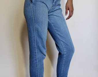 80s Denim Pants, Straight leg, Tapered Pants, Zpper denim, VTG High waist, Jeanjer Jean pants ,  motorcycle jeans Size 0-2
