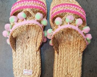 Beach Sandals, Pompom Sandals, Straw Sandals, Beach Shoes, Flip Flops