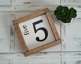 Five 5  - 7''x7'' Handpainted Framed Farmhouse Style