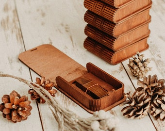 Brown USB drive wood box with bending lid
