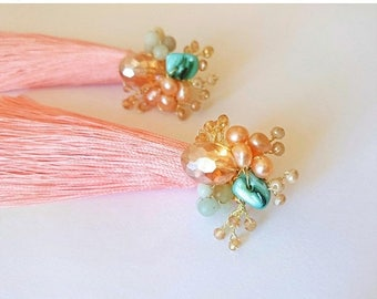 ON SALE Peach tassel earrings with pearls, amazonite and crystals