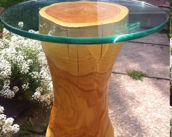 Glass wood trunk table carved
