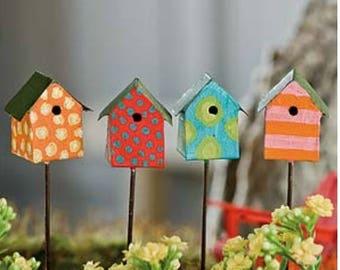 Fairy Garden Dollhouse Miniature Diorama Metal Birdhouse