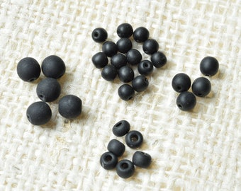 Black Glass Beads, 5 oz Assortment, Matte finish, Beading, Jewelry, Crafts, DIY