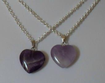 Amethyst Heart Necklace,Amethyst Necklace,Purple Heart Necklace,Purple Crystal Heart Necklace,Amethyst Purple Jewelry Purple Necklace