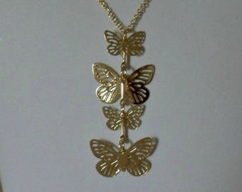 Gold Butterfly Necklace, Butterfly Charm Necklace, Butterfly Pendant, Gold Butterfly Jewelry, Butterfly Gifts, Gold Necklace, Layer Necklace