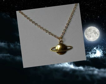 Saturn Jewelry,Saturn Necklace,Gold Saturn Necklace Jewelry,Planet Necklace Jewelry,Solar System Necklace Jewelry