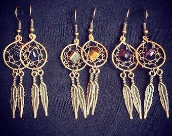 Dream catcher earrings, drop earrings, feather earrings