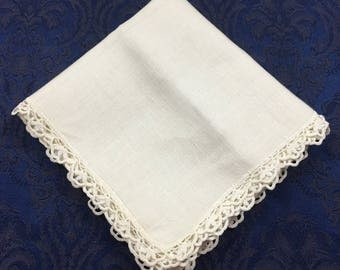 Vintage Ecru Tablecloth with Crochet Lace Trim 38 x 36