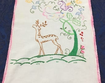 Vintage Linen Table Runner Doily Hand Embroidered  Deer and Floral Pastel Tree R48