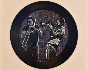 "Vinyl painting ""trumpet and trombone,"" Art Records"