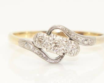 Art Deco 18ct Gold Platinum Trilogy Diamond Crossover Engagement Ring, Size S