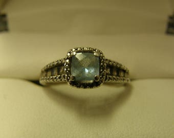 Blue Topaz & Crystals Sterling Silver Ring- Size 7