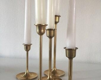 Set of 5 vintage brass candleholders