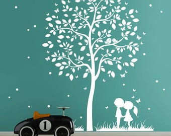 Wall Decal Tree with Children Couple Butterflies M1774