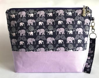 Pink Elephants - Medium sized project bag for Knitting/Crochet
