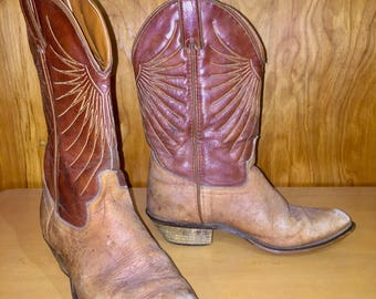 Brown cowboy boots with tan stitching