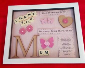 THANK YOU FEMALE relative personalised keepsake gift box frame Mum Nan Auntie