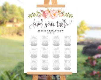 Rustic Floral Wedding Seating Chart Template Peony Seating Chart Template Find your seat sign Boho Floral Seating Chart Wedding Seating #S03
