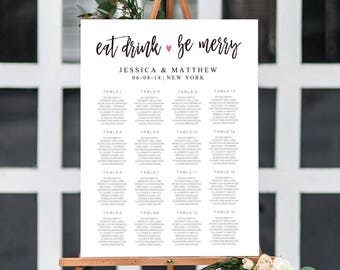 Eat Drink and Be Merry Wedding Seating Chart Template Find your seat sign Seating Chart Poster Seating Plan Editable PDF Template S08