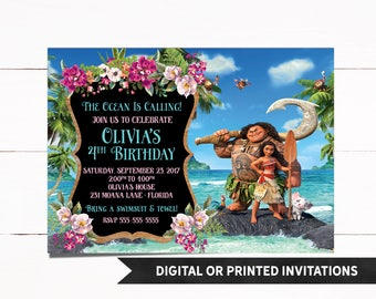Moana Invitation, Printed Moana Invitation, Moana Birthday Invitation, Moana Party, Moana, Moana Birthday, Girl Invitations, M1