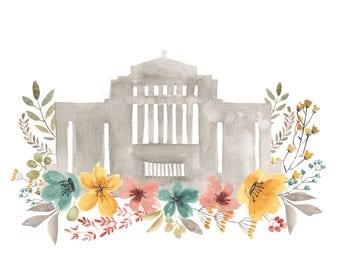Cardston Temple Vintage Floral