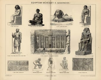 Antique engraving of statues of the Egyptian art from 1893