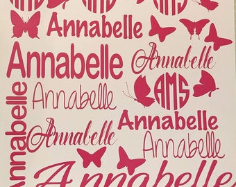 School decals, decals, name decal, decorate, back to school, customize, personalize, kids, school, decal sheet