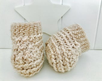 Beige Unisex shoes created in crochet with virgin wool and organic alpaca. Ready to ship.