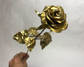 Long Stem Brass Rose