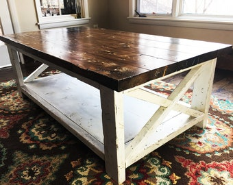 Hand Made Knotty Pine Distressed Coffee Table