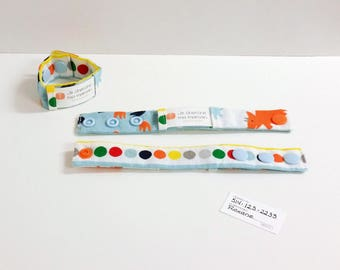 Kid identification bracelet, fabric bracelet, fabric cuff, dinosaur, READY TO SHIP