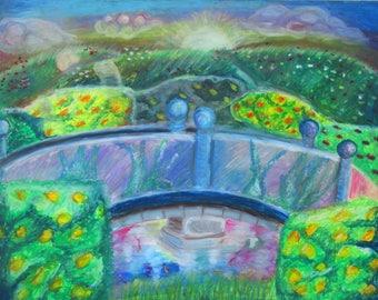 original Oil Pastel Bridge 8x10  or 9x12 Art print, small poster, wall decor, home decor, wall art, impressionist art, garden, nature print