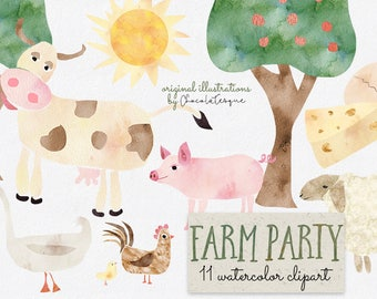 Baby Farm Animals Clip Art farm animal clipart | etsy