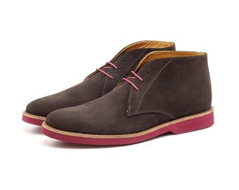 Liban - Dark Brown - Men's Leather Chukka Boot - Suede - Casual Shoes - Men's Shoes - Leather Shoes - Handmade Shoes