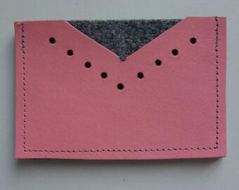 Pink leather card holder & felt