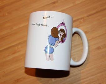Mug, clock Ideal Nanouq mirror mirror, tableware, Bowl, porcelain