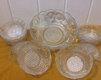 Bartlett Collins, Glass Salad Bowl Set, Manhattan Pattern