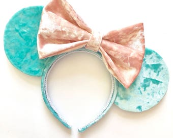 Aquamarine Velvet Minnie ears